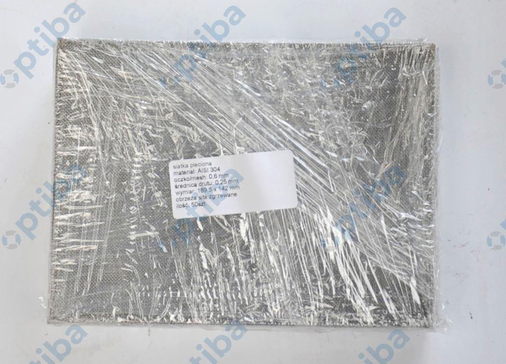 Siatka pleciona stalowa gat.AISI304 oczko 0,6mm fi drutu 0,25mm szer. 189,5mm dł. 142mm obrzeża sita zgrzewane