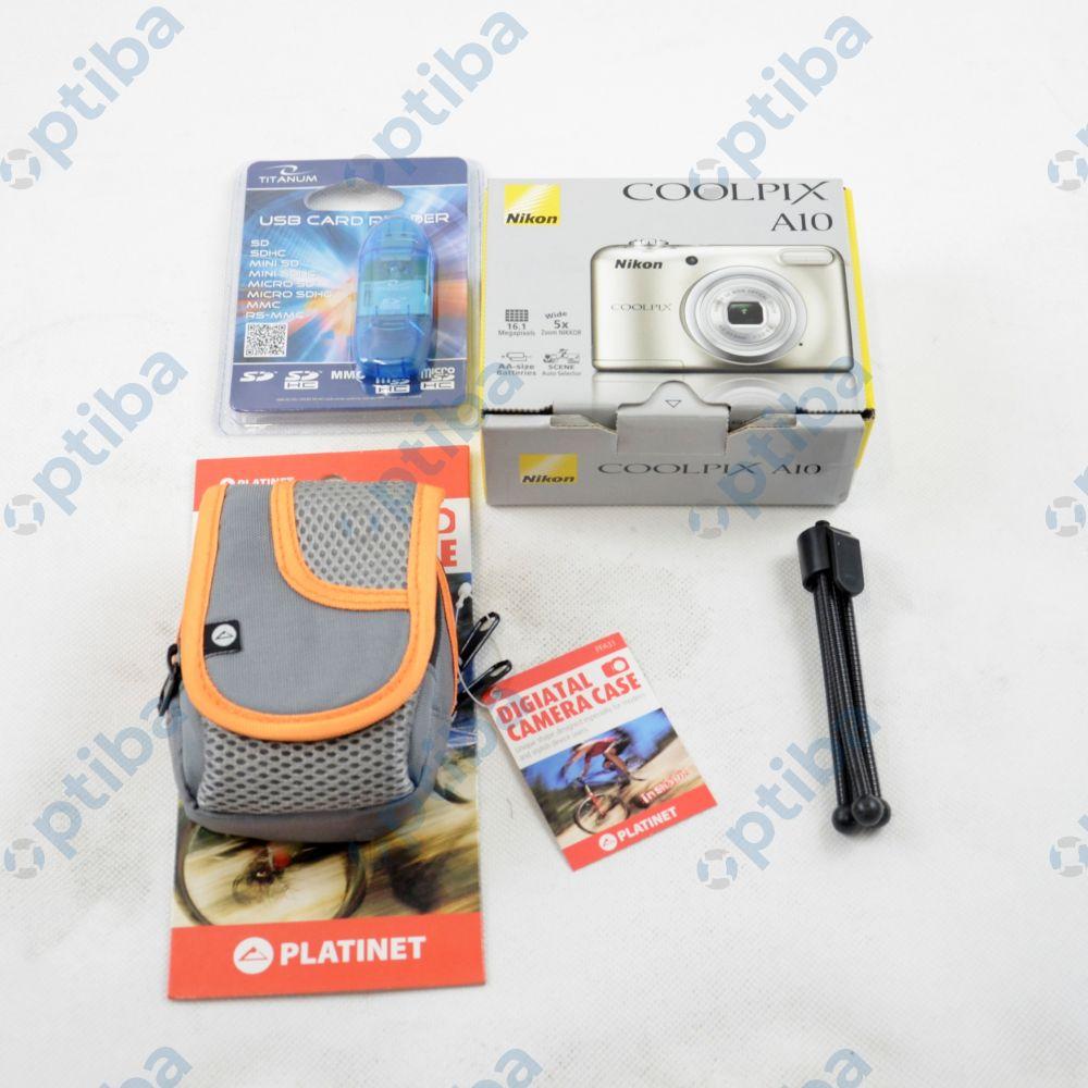 Zestaw aparatu fotograficznego COOLPIX A10 z etui, kartą pamięci 16GB, statywem i czytnikiem kart SD