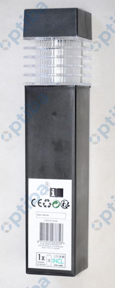 Lampa solarna LED ogrodowa wodoodporna wys.39cm szer. klosza 5.7cm barwa światła biały ciepły włącznik on/off