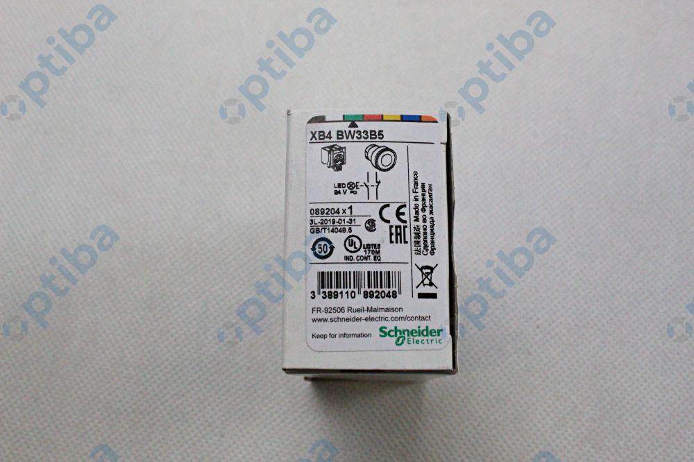 Przycisk sterowniczy z podświetleniem LED NO+NZ 24V 22mm z samopowrotem zielony XB4BW33B5 SCHNEIDER ELECTRIC