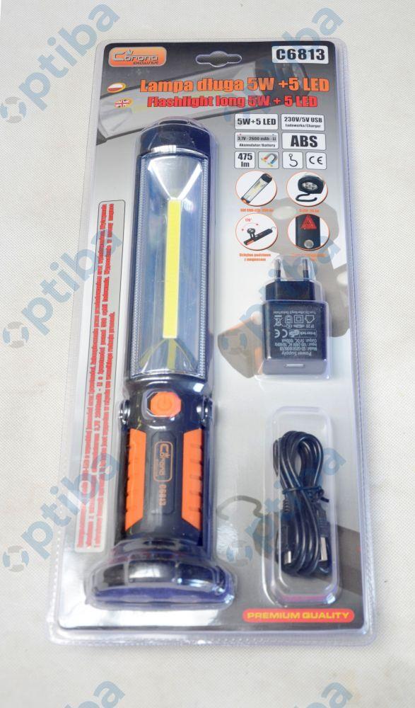 Lampa warsztatowa 5W 5 LED z 2 ładowarkami 230V/12V z hakiem i uchylną namagnesowaną podstawą C6813 CORONA