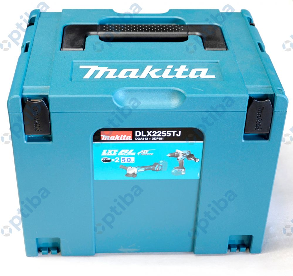 Zestaw Combo DLX2255TJ wiertarko-wkrętarka ze szlifierką kątową DGA513 dwoma akumulatorami 5,0Ah i walizką Makpac