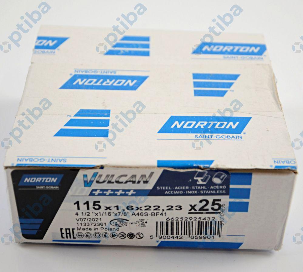 Tarcza szlifierska T41 VULCAN 115x1,6x22,23mm A46S 66252925432