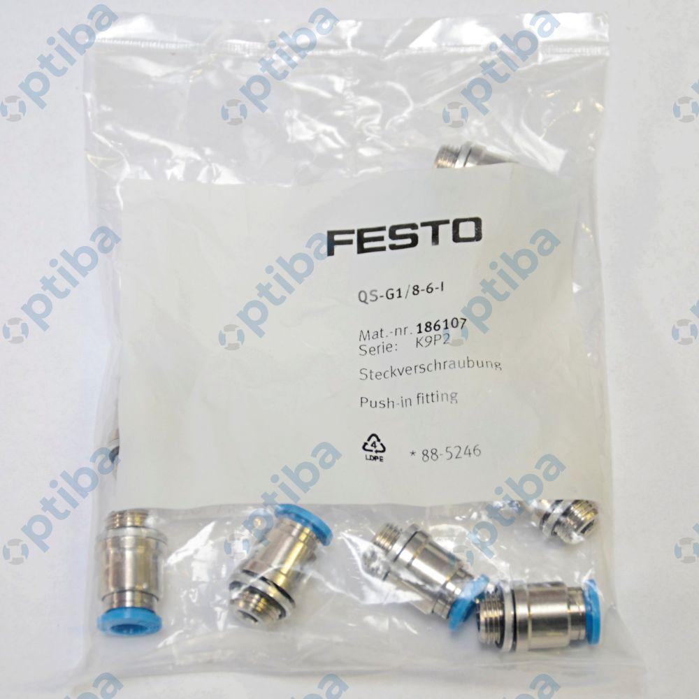 Szybkozłącze proste, gwint G z pierścieniem uszczelniającym QS-G1/8-6-I 186107 FESTO
