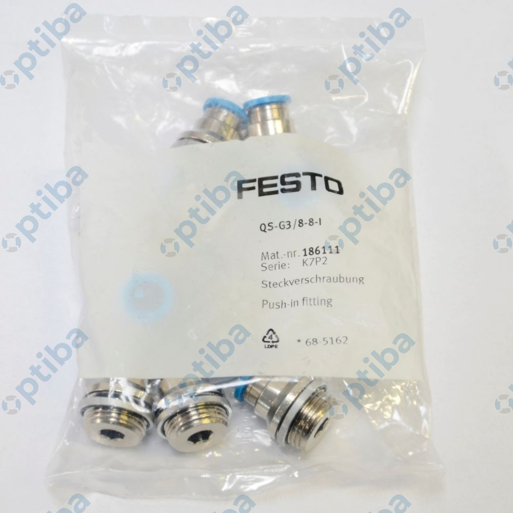 Szybkozłącze proste, gwint G z pierścieniem uszczelniającym QS-G3/8-8-I 186111 FESTO
