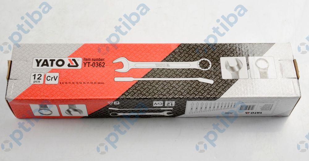 Zestaw 12 kluczy płasko-oczkowych YT-0362 8-24mm