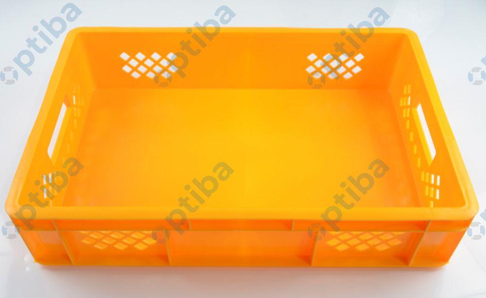 Pojemnik transportowy EURO 130 600x400x130mm, poj. 28l, dno i ścianki ażurowe, żółty