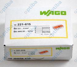 Szybkozłączka instalacyjna 5x0,5-6mm2 transparentna/pomarańczowa 221-615 15szt