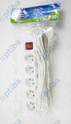 Przedłużacz z wyłącznikiem 5-gniazdowy P1517 z/u 7m H05VV-F 3G1 biały
