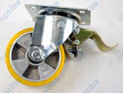 Koło aluminiowo-poliuretanowe A25PH fi 125mm w obudowie skrętnej z hamulcem