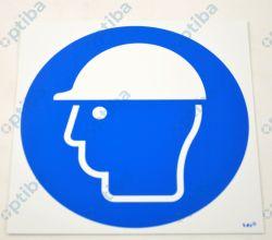 Znak Nakaz stosowania ochrony głowy 21x21 PCV