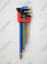 Zestaw 9 kluczy trzpieniowych w uchwycie Ergostar sześciokątnych z główką kulistą, świecących różnymi kolorami 369E9F 41483