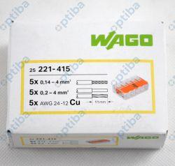 Szybkozłączka instalacyjna 5x0,2-4mm2 transparentna/pomarańczowa 221-415 25szt