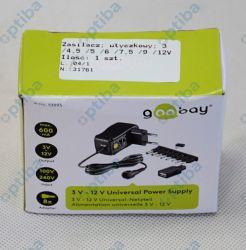 Zasilacz wtyczkowy NTS600MW 3/4.5/5/6/7.5/9/12V DC 600mA 7.2w 31761 GOOBAY